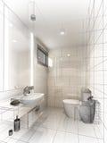 Abstract sketch design of interior bathroom. Design Stock Image