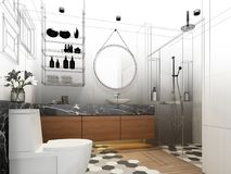 Abstract sketch design of interior bathroom. 3d rendering Stock Images