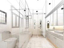 Abstract sketch design of interior bathroom. 3d design interior Royalty Free Stock Image