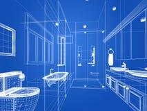 Abstract sketch design of interior bathroom. 3d design interior Royalty Free Stock Photos