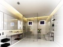 Abstract sketch design of interior bathroom. 3d render Royalty Free Stock Photos