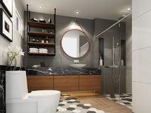 Abstract sketch design of interior bathroom. 3d rendering Royalty Free Stock Images