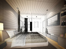 Abstract sketch design of interior bedroom Royalty Free Stock Photos