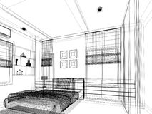 Abstract sketch design of interior bedroom Royalty Free Stock Photo