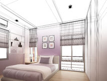 Abstract sketch design of interior bedroom Stock Photography