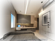 Abstract sketch design of interior bedroom Stock Photos