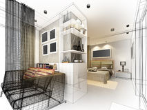 Abstract sketch design of interior bedroom. 3d Royalty Free Stock Image