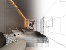Abstract sketch design of interior bedroom,3d. Rendering Royalty Free Stock Photography