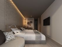 Abstract sketch design of interior bedroom,3d. Rendering Stock Photography