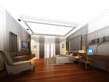 Abstract sketch design of interior bedroom. 3d rendering Stock Photos