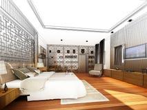 Abstract sketch design of interior bedroom. 3d rendering Stock Photo