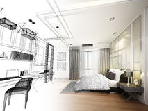 Abstract sketch design of interior bedroom,3d rendering Stock Image