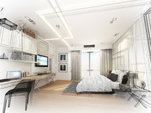 Abstract sketch design of interior bedroom. 3d rendering Royalty Free Stock Photo