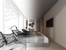 Abstract sketch design of interior bedroom,3d. Rendering Royalty Free Stock Image