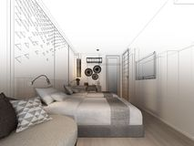 Abstract sketch design of interior bedroom,3d. Rendering Royalty Free Stock Photos