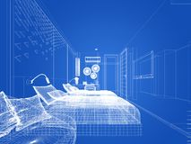 Abstract sketch design of interior bedroom,3d. Rendering Stock Image