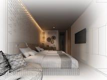 Abstract sketch design of interior bedroom,3d. Rendering Stock Images