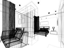 Abstract sketch design of interior bedroom Stock Image