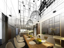Abstract sketch design of interior dining. 3d Stock Photo
