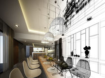 Abstract sketch design of interior dining Royalty Free Stock Photography