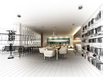 Abstract sketch design of interior dining Royalty Free Stock Image