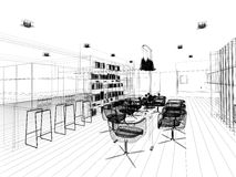 Abstract sketch design of interior dining. 3d Royalty Free Stock Photography