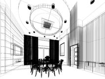 Abstract sketch design of interior dining ,3d Stock Photo