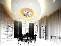Abstract sketch design of interior dining ,3d Stock Images