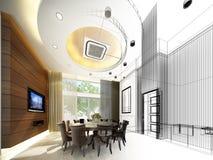 Abstract sketch design of interior dining ,3d. Design Stock Photos