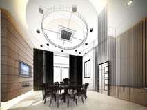 Abstract sketch design of interior dining ,3d. Design Royalty Free Stock Photos