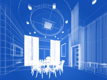 Abstract sketch design of interior dining ,3d. Design Royalty Free Stock Photography