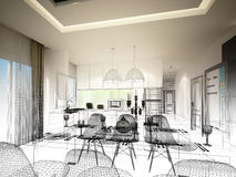 Abstract sketch design of interior dining and kitchen room ,3d. Render Royalty Free Stock Photography