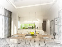 Abstract sketch design of interior dining and kitchen room ,3d. Render Royalty Free Stock Photos