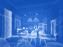Abstract sketch design of interior dining and kitchen room ,3d. Render Royalty Free Stock Photo