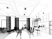 Abstract sketch design of interior dining and kitchen room ,3d. Render Stock Image