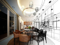 Abstract sketch design of interior dining room Royalty Free Stock Images