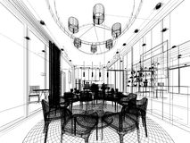 Abstract sketch design of interior dining room Royalty Free Stock Photo