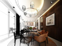 abstract sketch design of interior dining room stock illustration