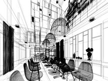 Abstract sketch design of interior dining room. 3d wire frame Stock Photos