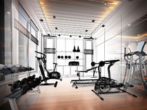 Abstract sketch design of interior fitness room. 3d Royalty Free Stock Photography