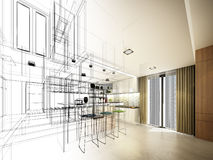 Abstract sketch design of interior kitchen Stock Photography