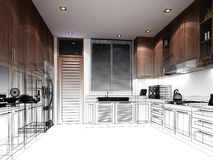 Abstract sketch design of interior kitchen Royalty Free Stock Images