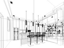 Abstract sketch design of interior kitchen. 3d render Royalty Free Stock Photo