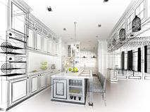 Abstract sketch design of interior kitchen Royalty Free Stock Photo