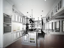 Abstract sketch design of interior kitchen Royalty Free Stock Image
