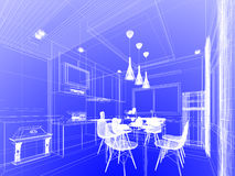 Abstract sketch design of interior kitchen Stock Images