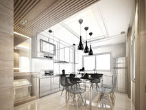 Abstract sketch design of interior kitchen Stock Photos