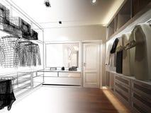 Abstract sketch design of interior walk-in closet royalty free illustration