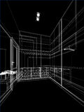 Abstract sketch design of interior walk-in closet. 3d rendering Stock Images