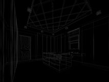 Abstract sketch design of interior walk-in closet Stock Images